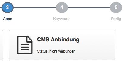 contentbird CMS Anbindung Button Project-Wizard