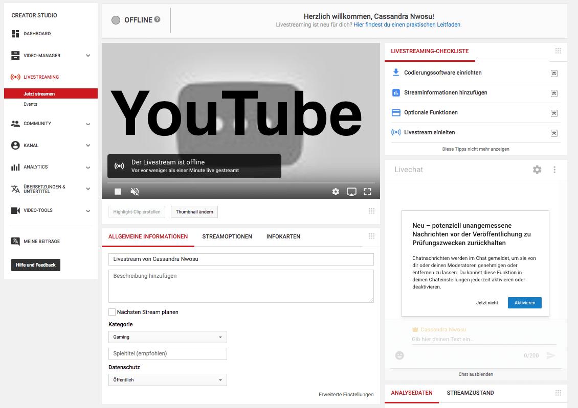 YouTube Live Streaming Screenshot