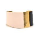 Bijou créateur femme - Manchette en étain or tricolore émail