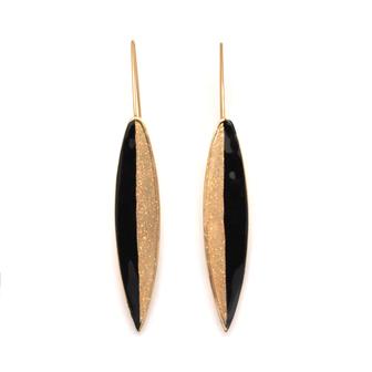 Bijou créateur - Boucle d'oreille longues dormeuses Plume bicolores