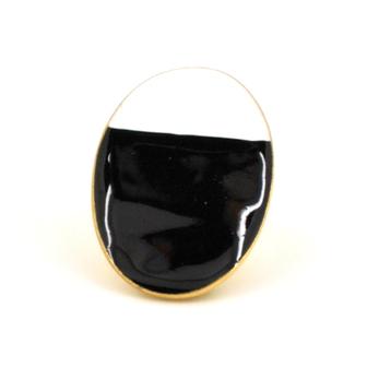 Bijou créateur femme - Bague ovale bicolore