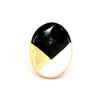 Bijou créateur femme - Bague ovale tricolore