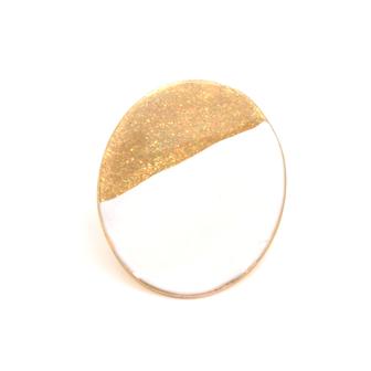 Bijou créateur femme - Grande bague ovale en émail bicolore