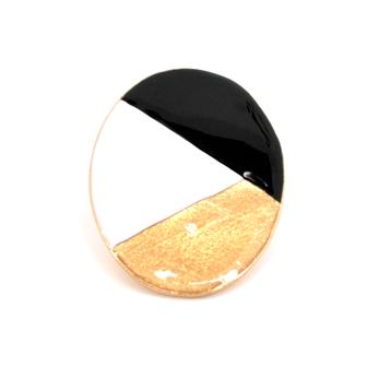 Bijou créateur femme - Grande bague ovale en émail tricolore