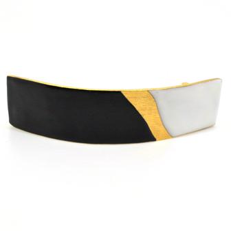 Accessoire cheveux créateur - Grande barrette rectangle émail arquée tricolore