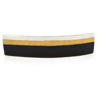 Accessoire cheveux créateur - Grande barrette rectangle émail tricolore