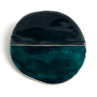 bijou émail femme broche rond noir