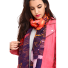 Foulard createur grenade rose porte little woman paris