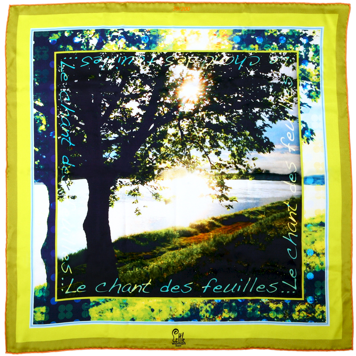 Foulard de createur soie jaune little woman paris