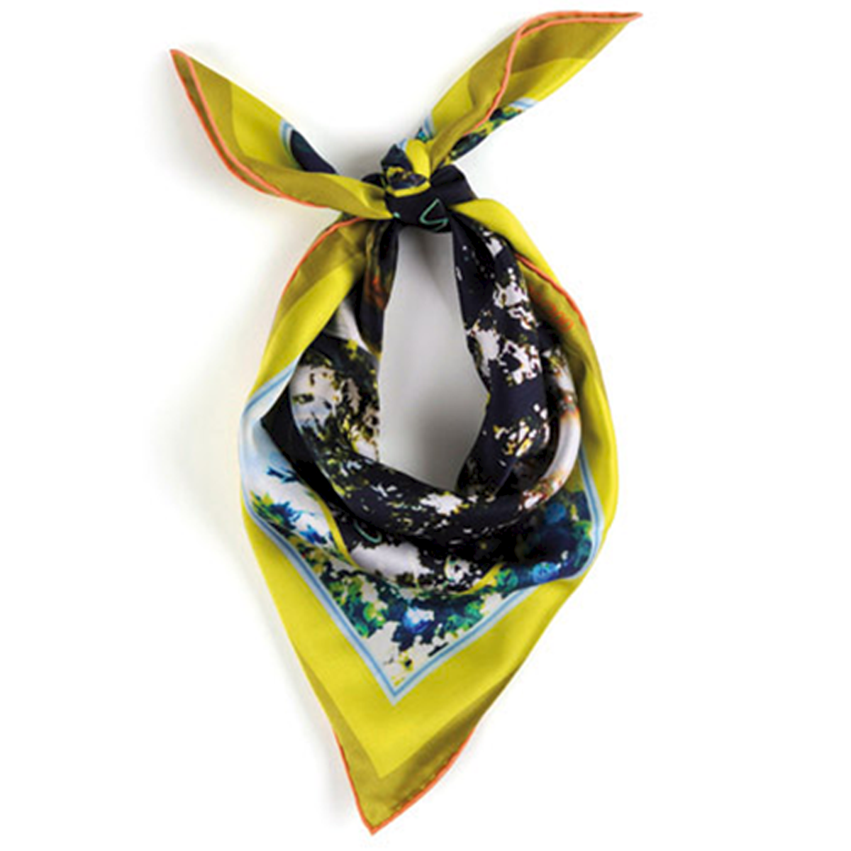 Foulard de createur soie porte jaune little woman paris
