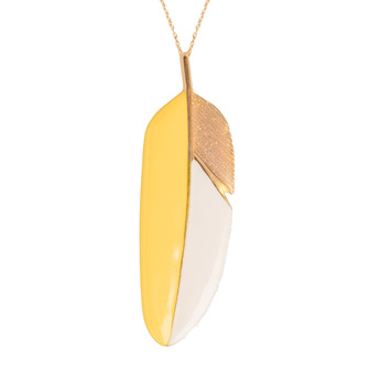 Bijou créateur femme - Sautoir plume tricolore émail