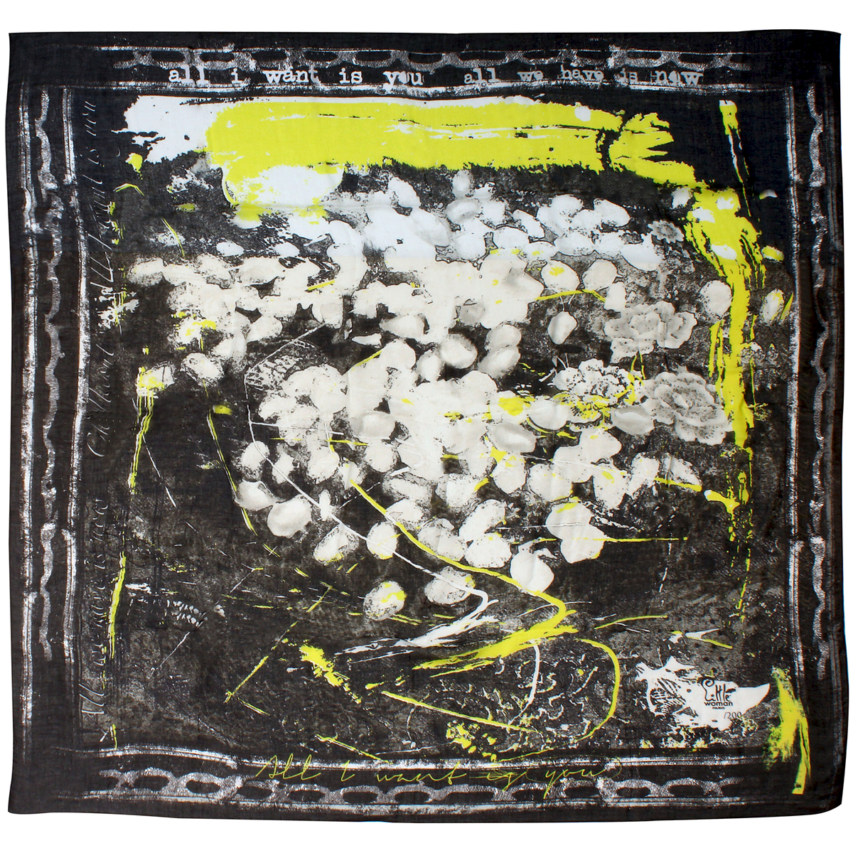 Foulard createur noir et jaune plat little woman paris