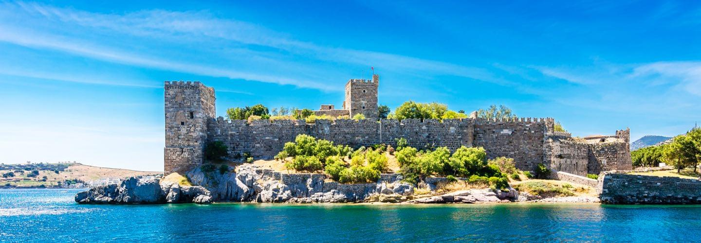 Bodrum castle by day located on the borders of the Aegean Sea in southwest Turkey