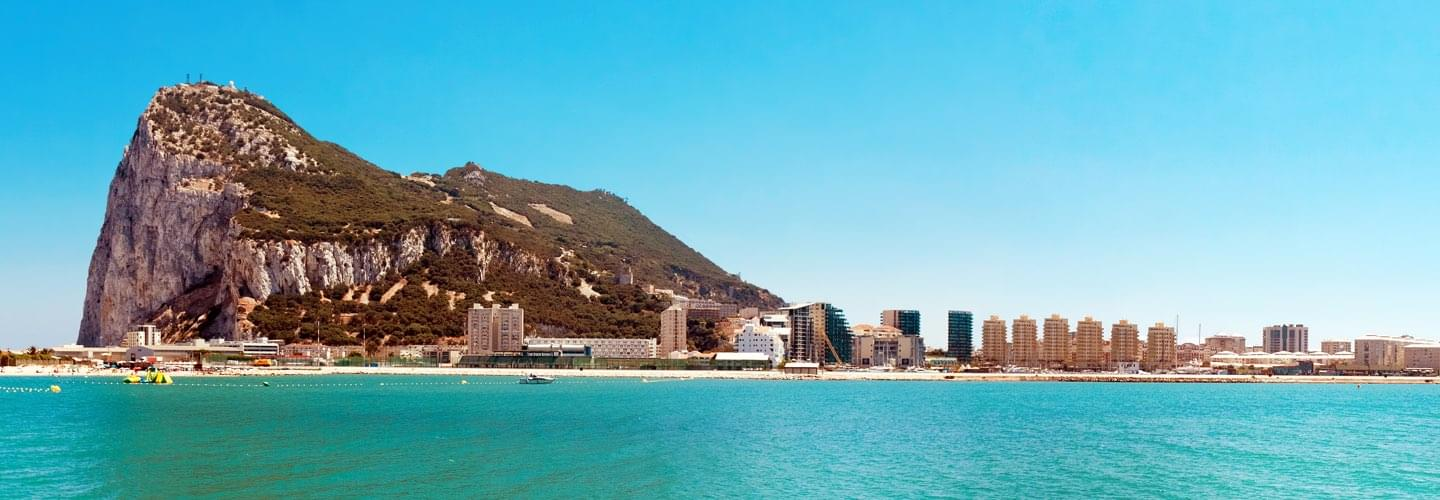 The rock of Gibraltar in the British Overseas Territory on Spain's south coast