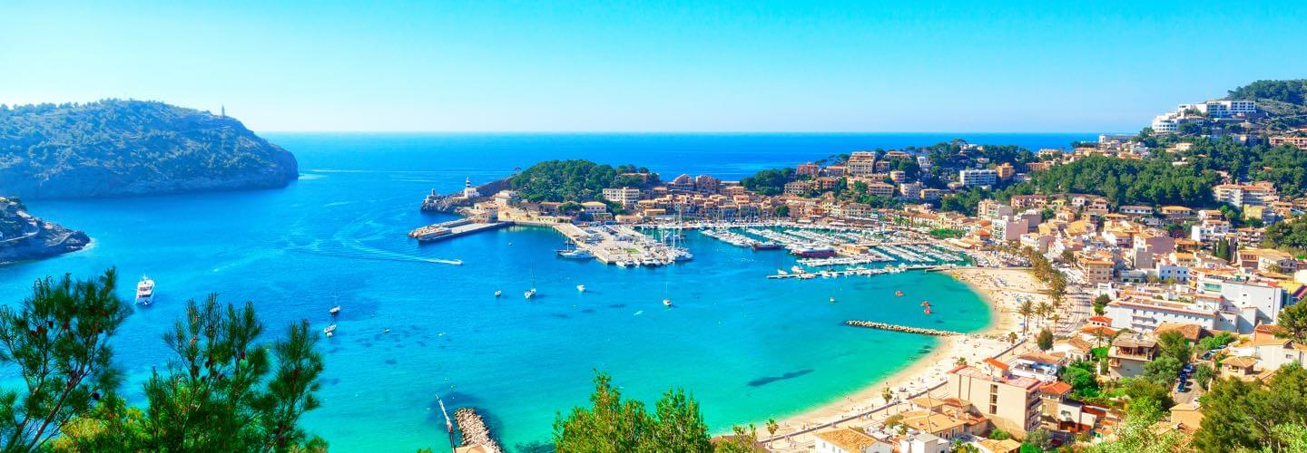 Soller Port in Mallorca in Spain with the Balearic sea and boats in the background