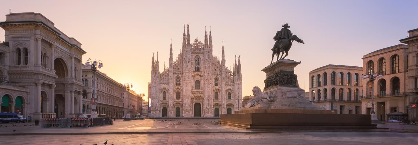View of the Duomo di Milano and the Monumento a Vittorio Emanuele II in Milan