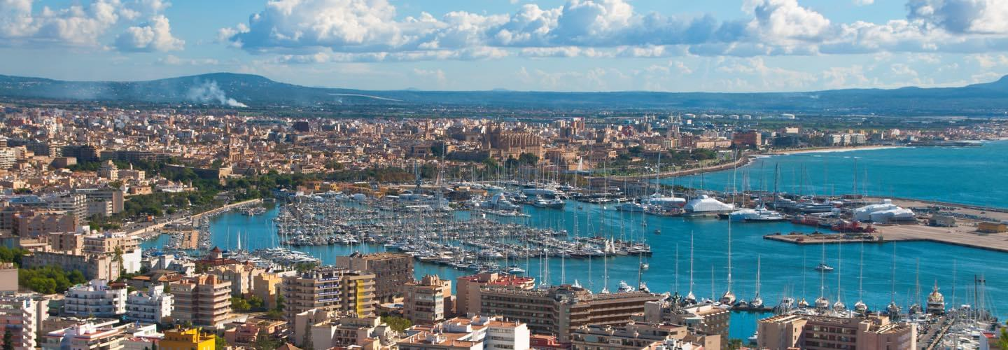 The port of Palma de Mallorca in Spain by summer with blue sky and white clouds