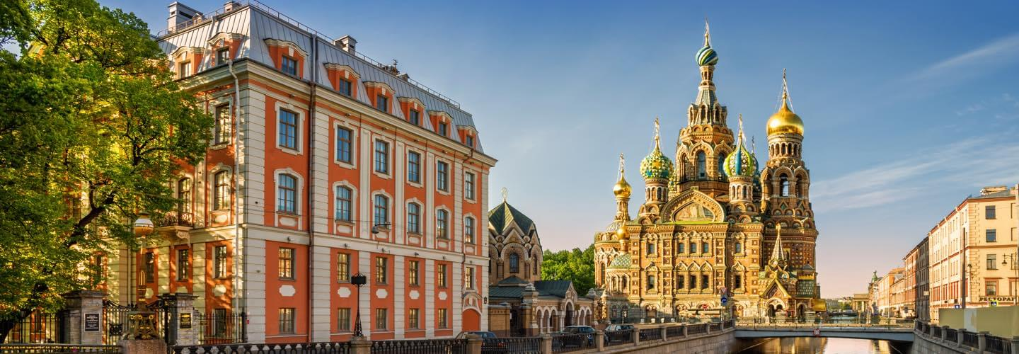 View from the Moyka river of the Church of the Savior on Blood in St Petersburg