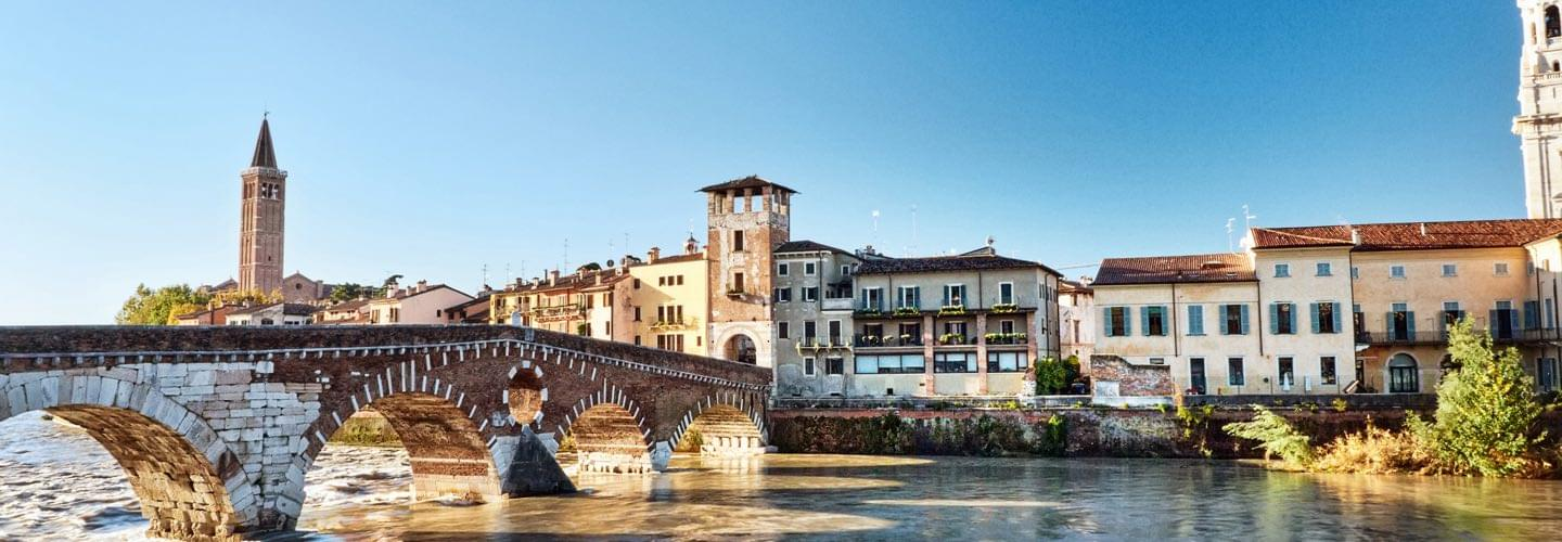 View of Verona in Italy from the Ponte Pietra on the Adige with Sant' Anastasia Church