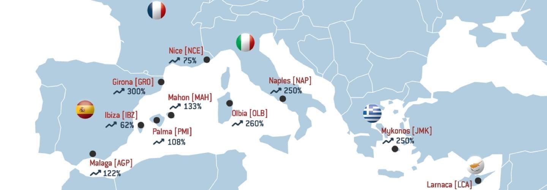 Carte illustrant le top 10 des destinations méditerranéennes où LunaJets observe le plus de croissance en 2018