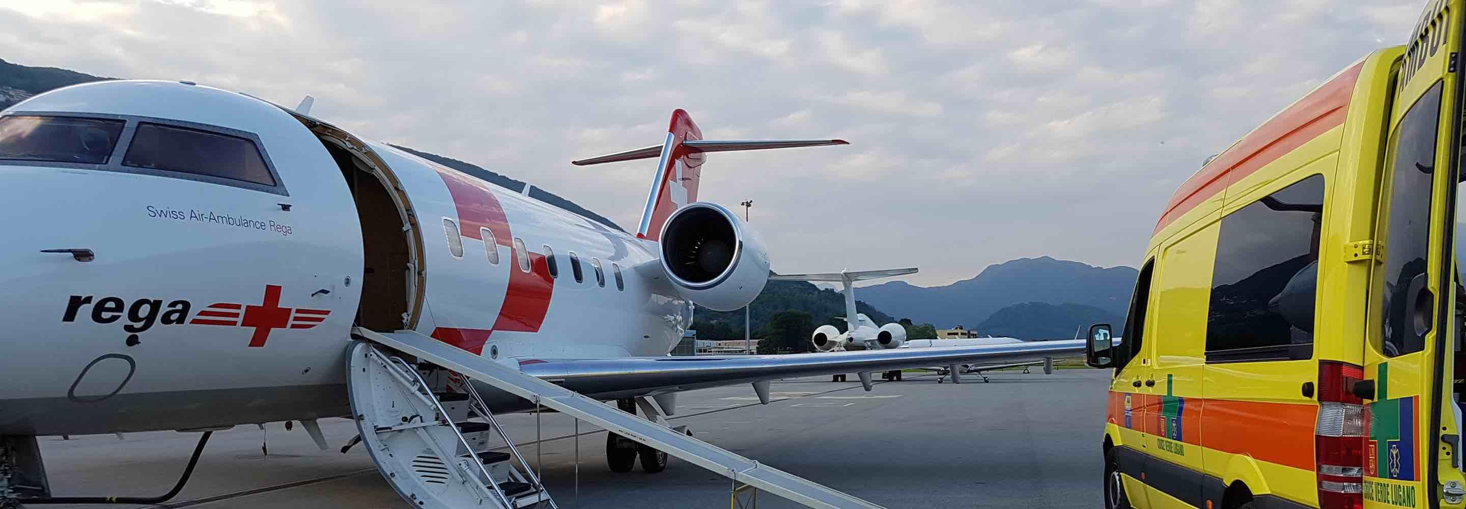 Rega Swiss Air Ambulance private jet on the tarmac illustrating special charters and medical flights