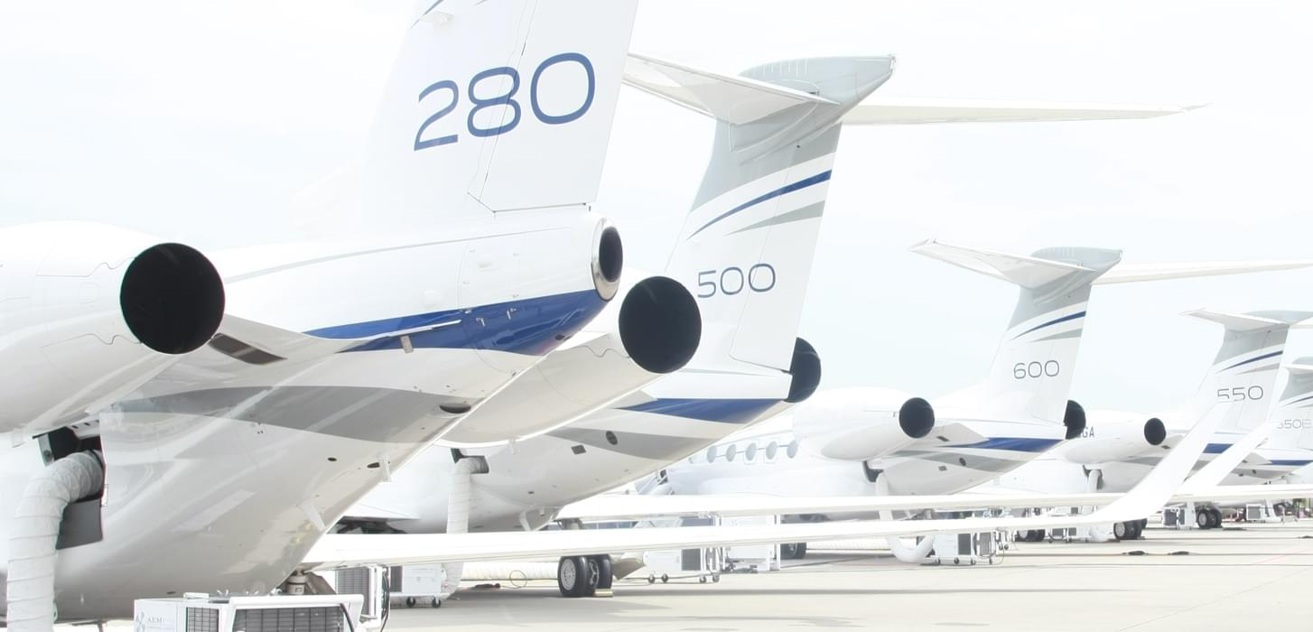 Private jets parking side by side during a business aviation convention