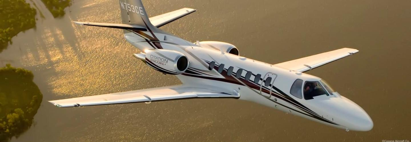 Light Jet Cessna Citation Encore  to charter for private aviation flights with LunaJets,high performance aircraft offering excellent service