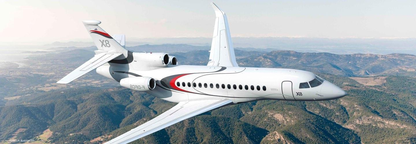 Long Range Business Jet Dassault Falcon 8X to charter for private aviation flights with LunaJets, incredible range, smooth long-haul journey