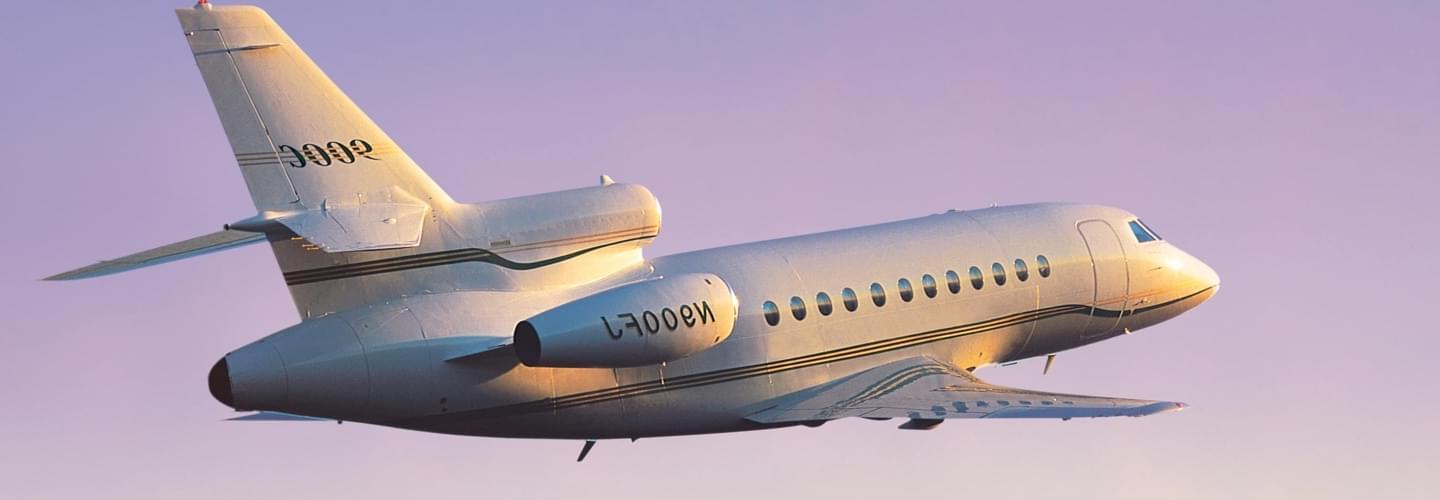 Super Large Business Jet Dassault Falcon 900C to charter for private aviation flights with LunaJets, intercontinental capabilities, performance