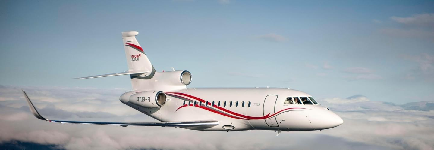Super Large Business Jet Dassault Falcon 900LX to charter for private aviation flights with LunaJets for fuel efficiency, range, intercontinental