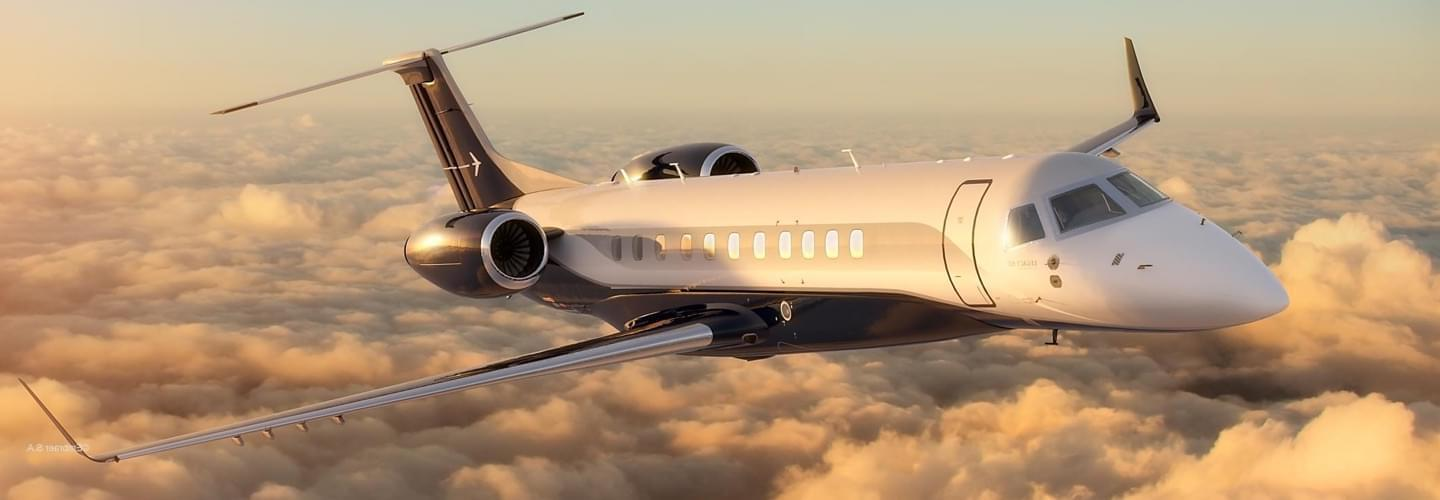 Large Business Jet Embraer Legacy 600 to charter for private aviation flights with LunaJets, extremely high-performance aircraft, optimum comfort