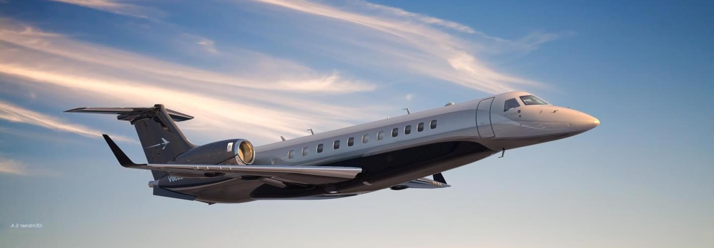 Large Business Jet Embraer Legacy 650 to charter for private aviation flights with LunaJets, fuel efficient, low operating costs, spacious cabin