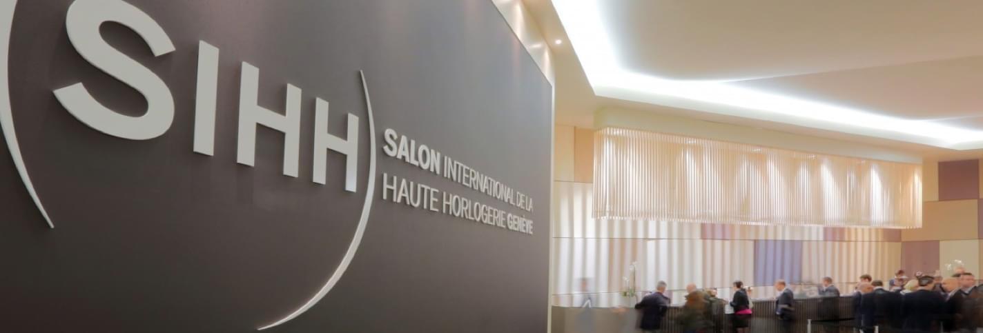 Entrée et panneau du SIHH Salon international de la haute horlogerie à Genève