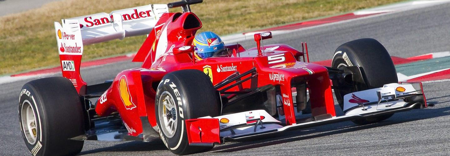 A red ferrari formula one racing car at the F1 Spanish Grand Prix of Barcelona
