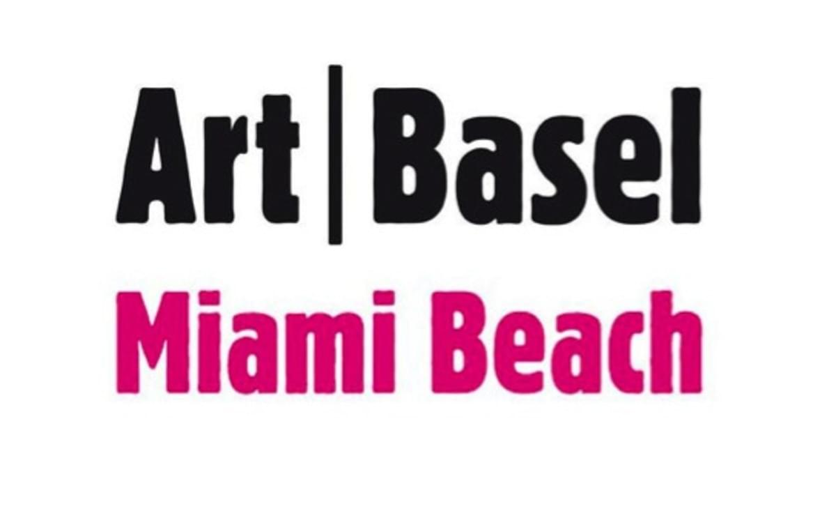 Logo of Art Basel Miami Beach written in black and pink letters on a white background