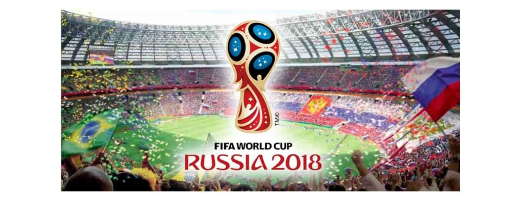 Banner of the Russian 2018 Fifa World Cup with the golden red blue and black logo
