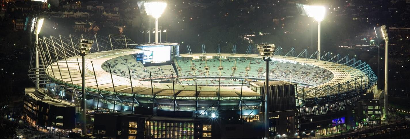 Melbourne Cricket Ground stadium by night for the ICC Cricket World Cup in Melbourne Australia