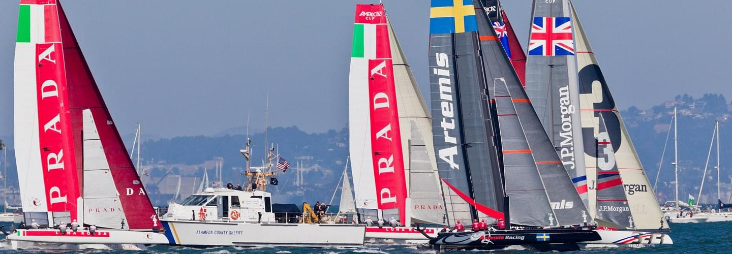 Five racing maxi-catamarans sailing during the Louis Vuitton Cup in San Francisco United States