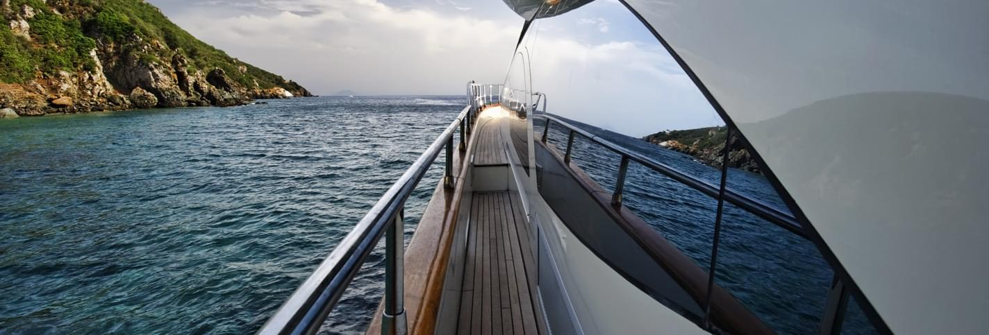 View from the deck of a yacht sailing illustrating the Superyacht Rendezvous in Montenegro