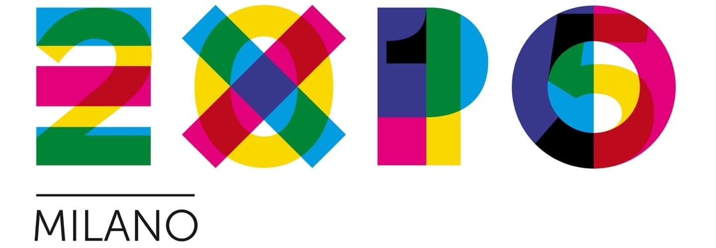Multicolor logo of the universal exhibition Expo Milan in Italy on a white background