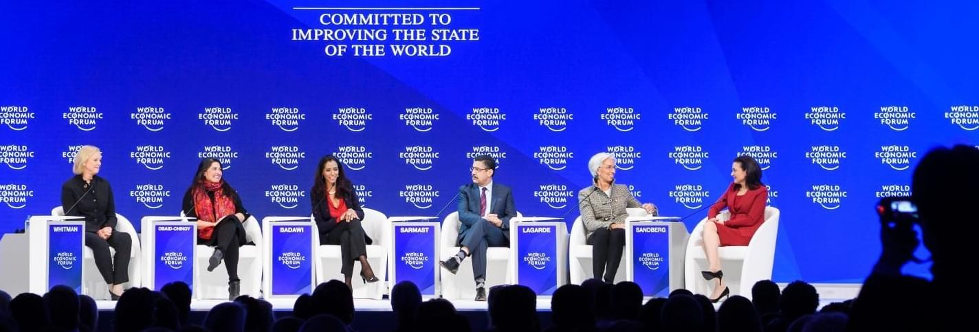 Whitman Obaid-Chinoy Badawy Sarmast Lagarde and Sandberg at the World Economic Forum in Cologny Switzerland