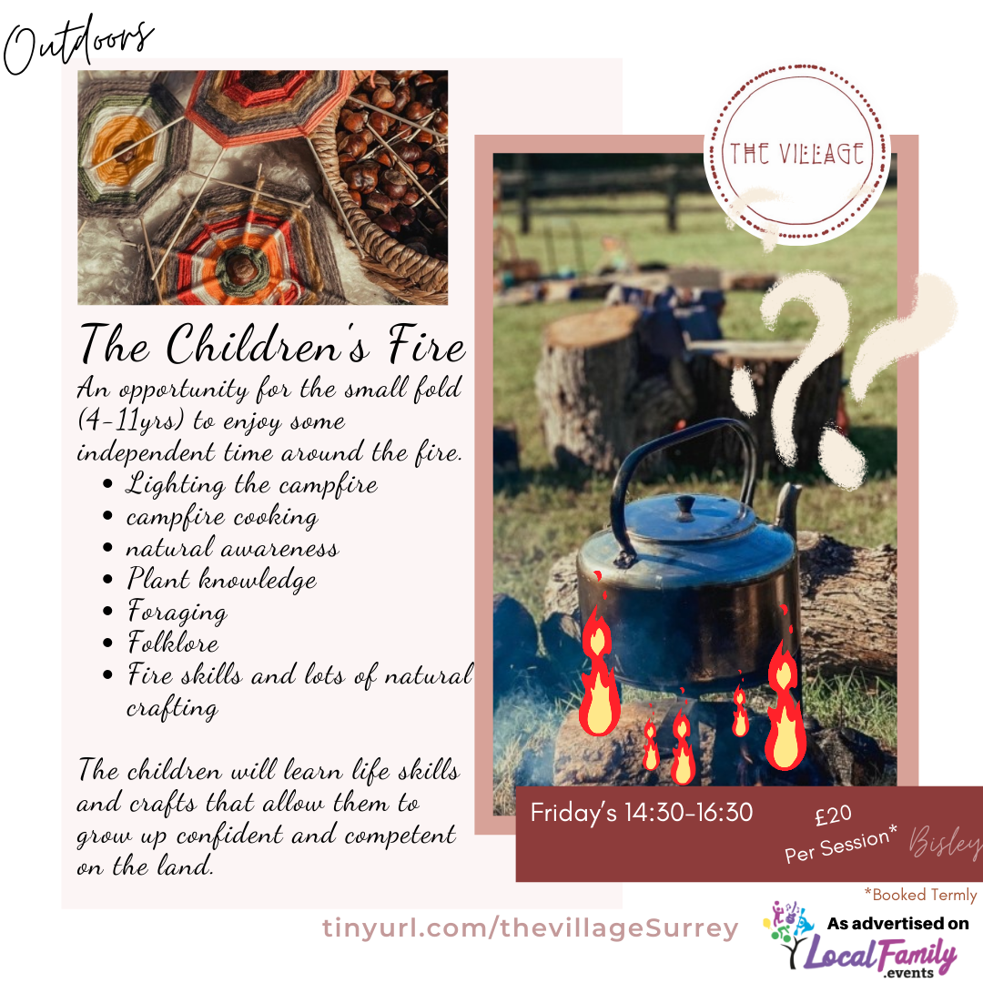 Nature crafts such as stick weaving and a kettle boiling over an open fire