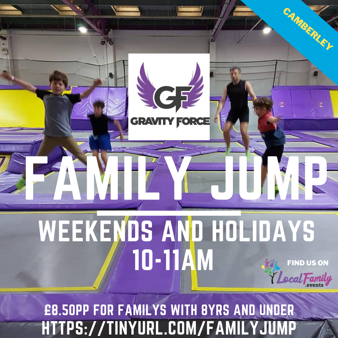 Family Jump poster contains 3 children and their father jumping on trampolines with their hands in the air.
