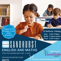 KUMON FREE TRIAL Maths and English support 3yr to A-level in Sandhurst and Yateley