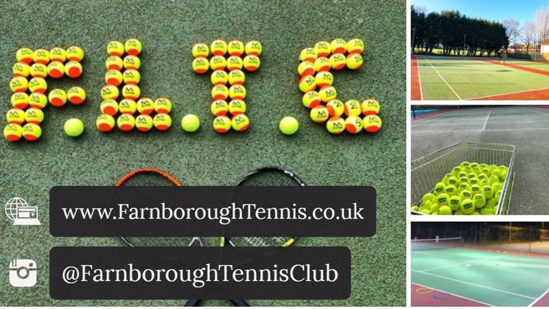 Tennis Balls laid out on the grass spelling out F.L.T.C