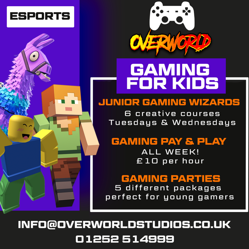 Overworld Gamiling for kids poster, with robox, and minecraft images.