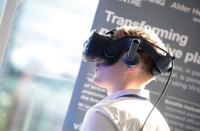 A man wearing a VR headset for LCR 4.0