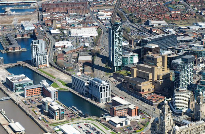 Northern fringe of Liverpool's Business District and Liverpool Waters