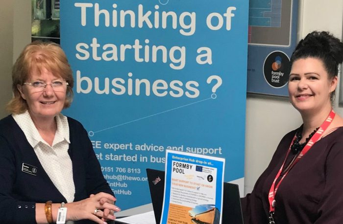 Heather Davies Community Development Officer at Formby Pool left pictured with Enterprise Hub business advisor Jacqueline Daley