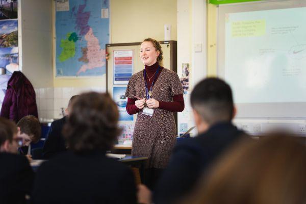 Rachel teaching at Ballakermeen High School